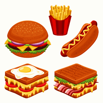 vector image of burgers