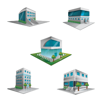 vector image of building set up plan
